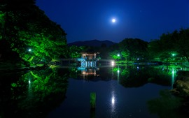 Japan, Ukimido, gazebo, lake, night, moon, park