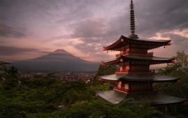Preview wallpaper Japan, temple, Fuji Mount, clouds, dusk