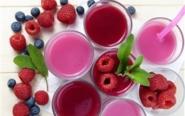 Juice, cups, raspberry, blueberry