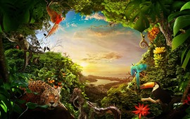 Preview wallpaper Jungle, many animals, plants, city, sea, sunshine