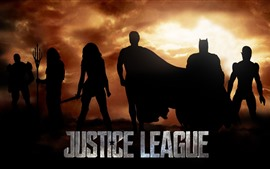 Justice League, superheroes, silhouette