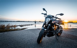 Preview wallpaper KTM motorcycle, front view, river