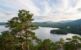 Preview wallpaper Kazakhstan, lake, pine trees, nature landscape