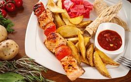 Kebab, batatas, carne, comida