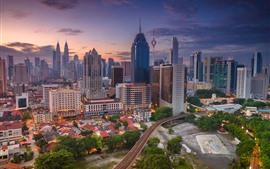 Куала-Лумпур, Малайзия, городской пейзаж, небоскребы