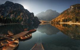Lake, boats, mountains, water reflection