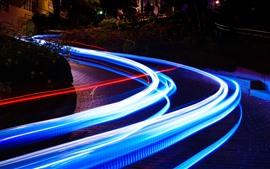 Linhas de luz, velocidade, cidade, noite, estrada
