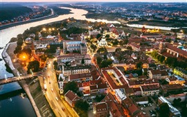 Preview wallpaper Lithuania, Kaunas, city at night