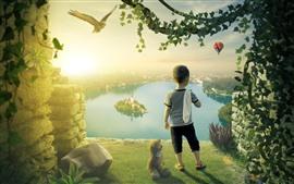 Niño pequeño, peluche, lago, isla, búho, diseño creativo