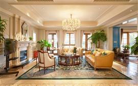 Sala de estar, interior, cadeiras, mesa, sofás, lareira, janelas