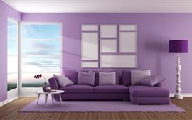 Living room, sofa, purple style
