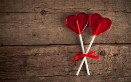 Lollipop, corazón de amor rojo.