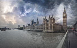 Preview wallpaper London, Big Ben, river, bridge, storm, lightning, clouds, England