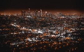 Лос-Анджелес, ночь, город, огни, США