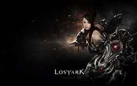Preview wallpaper Lost Ark, beautiful girl, armor, black background