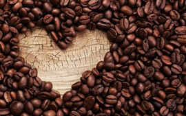 Preview wallpaper Love heart, many coffee beans