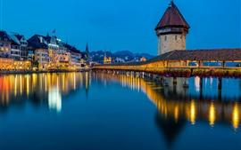 Lucerne, Reuss River, bridge, lights, night, Switzerland