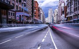 Madrid, espanha, cidade, estrada, edifícios