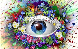 Magic eye, flowers, Earth, colorful, creative design