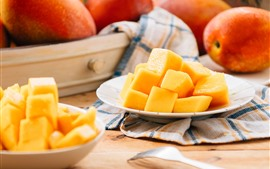 Preview wallpaper Mango blocks, delicious fruit