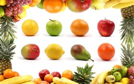 Preview wallpaper Many kinds fruit, apples, oranges, bananas, pears, lemons, pineapples