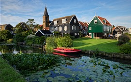 Marken, Netherlands, village, houses, river, grass