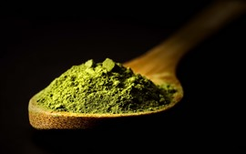 Preview wallpaper Matcha tea, powder, spoon