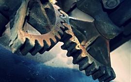 Engranajes de metal, oxidados.