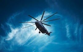 Mi-26 helicopter, blue sky, clouds