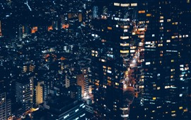 Preview wallpaper Minato, city, houses, lights, night, Japan