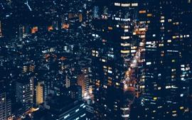 Minato, ciudad, casas, luces, noche, Japón