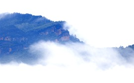 Mountains, fog, temple, morning