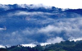 Vorschau des Hintergrundbilder Berge, Nebel, Morgen, Naturlandschaft