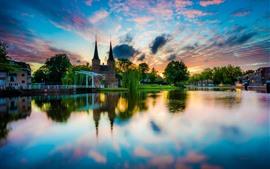 Países baixos, delft, cidade, rio, casas, árvores, reflexão água, pôr do sol