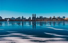 Preview wallpaper New York, Central Park, lake, buildings, city, USA