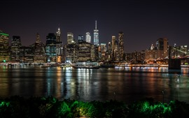 Preview wallpaper New York at night, city, river, skyscrapers, lights, USA