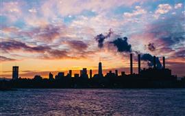 New York, city, night, clouds, sea, skyscrapers, USA