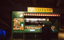 Newsstand, night, USA