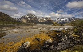 壁紙のプレビュー ノルウェー、ロフォーテン、ラップシュタット、山、岩、川