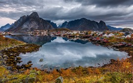 Preview wallpaper Norway, city, lake, mountains