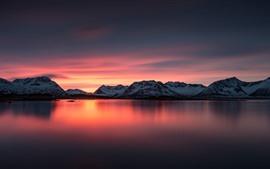 Noruega, montanhas, mar, pôr do sol, anoitecer
