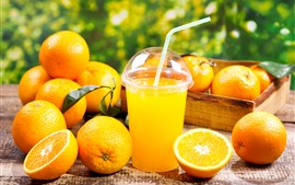 Aperçu fond d'écran Oranges, jus, boissons