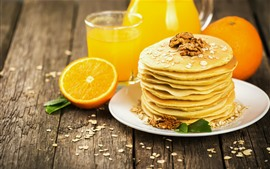 Preview wallpaper Pancakes, nuts, orange, drinks