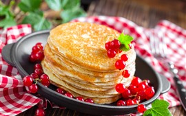 Pancakes, red currants, food