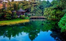 Parque, lago, árvores, ponte, casas, belas paisagens