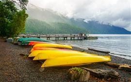 Парк, море, лодки, горы, деревья, туман