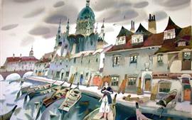 Cais, casas, barcos, rio, ponte, cidade, pintura de arte