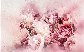 미리보기 배경 화면 핑크 꽃, 수채화 스타일