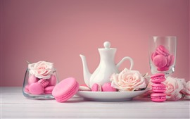 Preview wallpaper Pink macaroon, cakes, kettle, roses