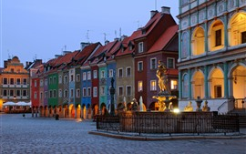 Preview wallpaper Poland, Poznan, city, evening, houses